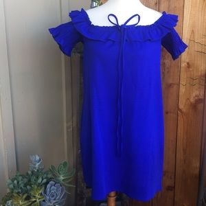 Zara Basics Off the Shoulder Royal Blue Dress